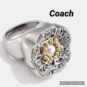Coach Tooled Silver and Pearl statement Ring